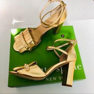 Kate spade old metallic gold block heel sandals